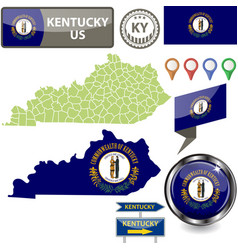 Map kentucky us vector