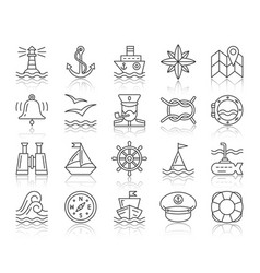 Marine simple black line icons set vector