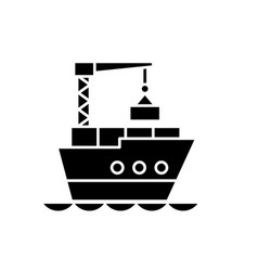 maritime logistics black icon sign on vector image