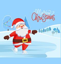 merry christmas santa claus on skating rink card vector image