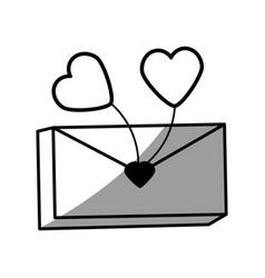 Message mail romantic heart balloon vector