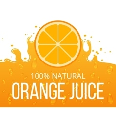 Natural orange juice label template vector