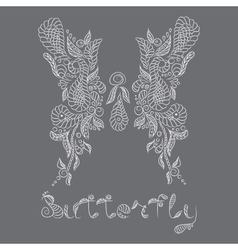 Pattern Mehendi white butterfly vector