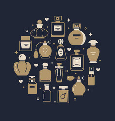 Perfume bottles poster with glyph icons vector