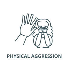 Physical aggression line icon linear vector