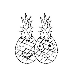 Pinapples happy fruit kawaii icon image vector