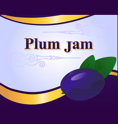 Plum jam label design template vector