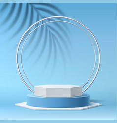 realistic round podium 3d tropical leaves vector image