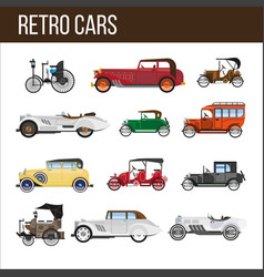 Retro cars with amazing vintage design vector