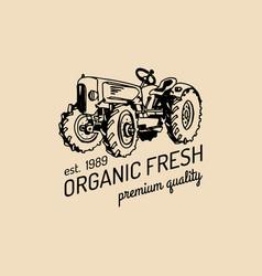 retro farm fresh logotypeorganic premium vector image