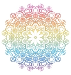 Round rainbow mandala background vector