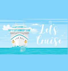 Sea and cruise ship vector