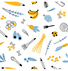 seamless pattern with kitchen utensils for vector image