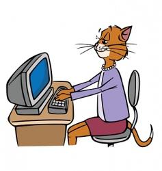 secretary cat vector image