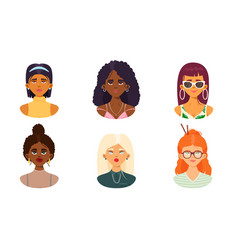 Set cute girls faces different nationalities vector