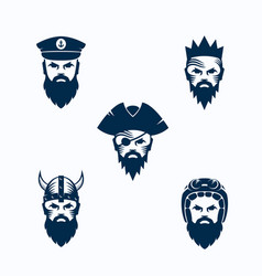Set of men face silhouettes bearded faces vector