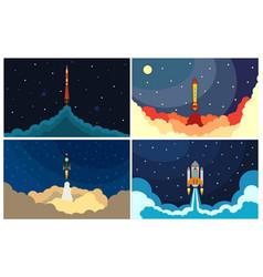 set of space rocket launch vector image vector image