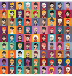 set people icons with faces vector image
