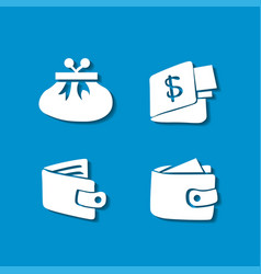 Set shopping icons on blue background vector