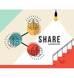 Share experiences concept with human brain design vector
