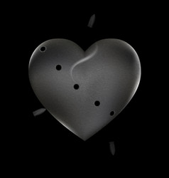 Shots and stone heart vector