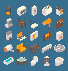 smart home flat 3d isometric icon set vector image