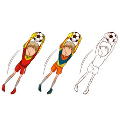 soccer player in three different drawing styles vector image