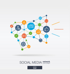 social media integrated thin line icons in vector image