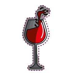 Sticker glass splashing wine icon vector