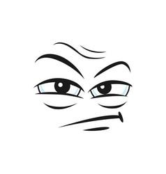 Suspicious angry emoticon isolated insidious emoji vector