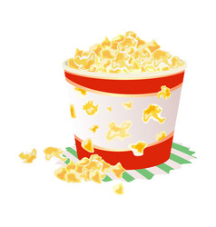 Sweet or salty popcorn in big paper cup on napkin vector