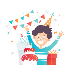 Teenager in glasses rejoices on birthday cake vector