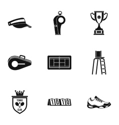 Tennis icons set simple style vector image