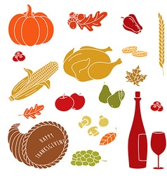 Thanksgiving colorful elements vector image