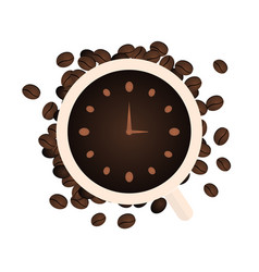 Time to coffee coffee watch flat vector