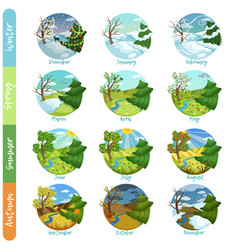 Twelve months of the year set four seasons nature vector