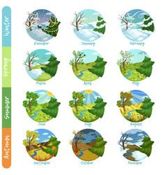 twelve months year set four seasons nature vector image