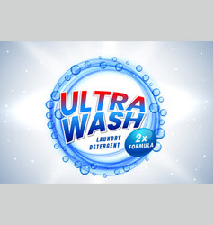 Ultra wash detergent packaging concept template vector