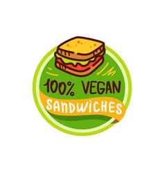 vegan sandwich and food logo menu vector image