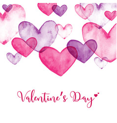 Watercolor hearts for valentines day vector