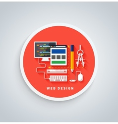 Web design on round banner vector