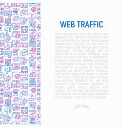 web traffic concept with thin line icons vector image