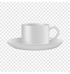 White cup and saucer mockup realistic style vector