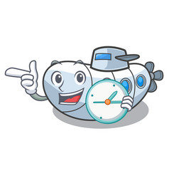 With clock submarine in the a cartoon shape vector