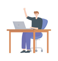 young man using laptop on desk isolated design vector image