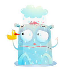 bad rainy day of cute monster vector image vector image