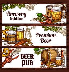 beer drinks and snack food sketch banner design vector image
