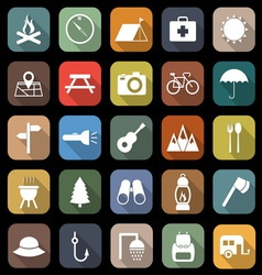 Camping flat icons with long shadow vector image