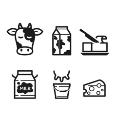 Dairy icons vector image vector image