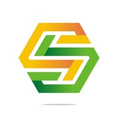 letter s icon logo symbol hexa vector image